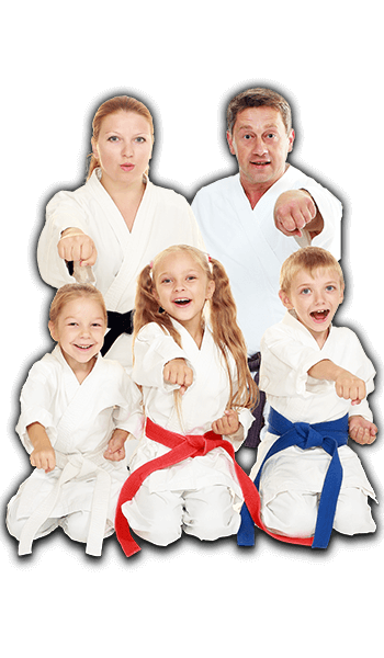 Martial Arts Lessons for Families in Lake Jackson TX - Sitting Group Family Banner