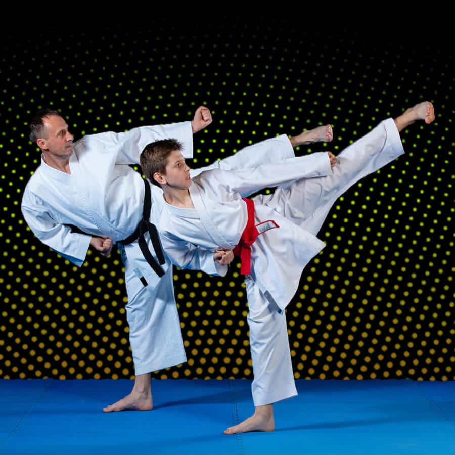 Martial Arts Lessons for Families in Lake Jackson TX - Dad and Son High Kick
