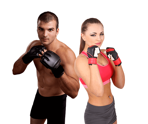 Mixed Martial Arts Lessons for Adults in Lake Jackson TX - Hands up Fitness MMA Man and Woman Footer Banner
