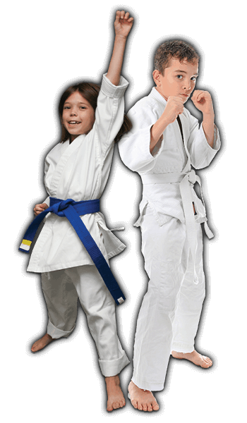 Martial Arts Lessons for Kids in Lake Jackson TX - Happy Blue Belt Girl and Focused Boy Banner